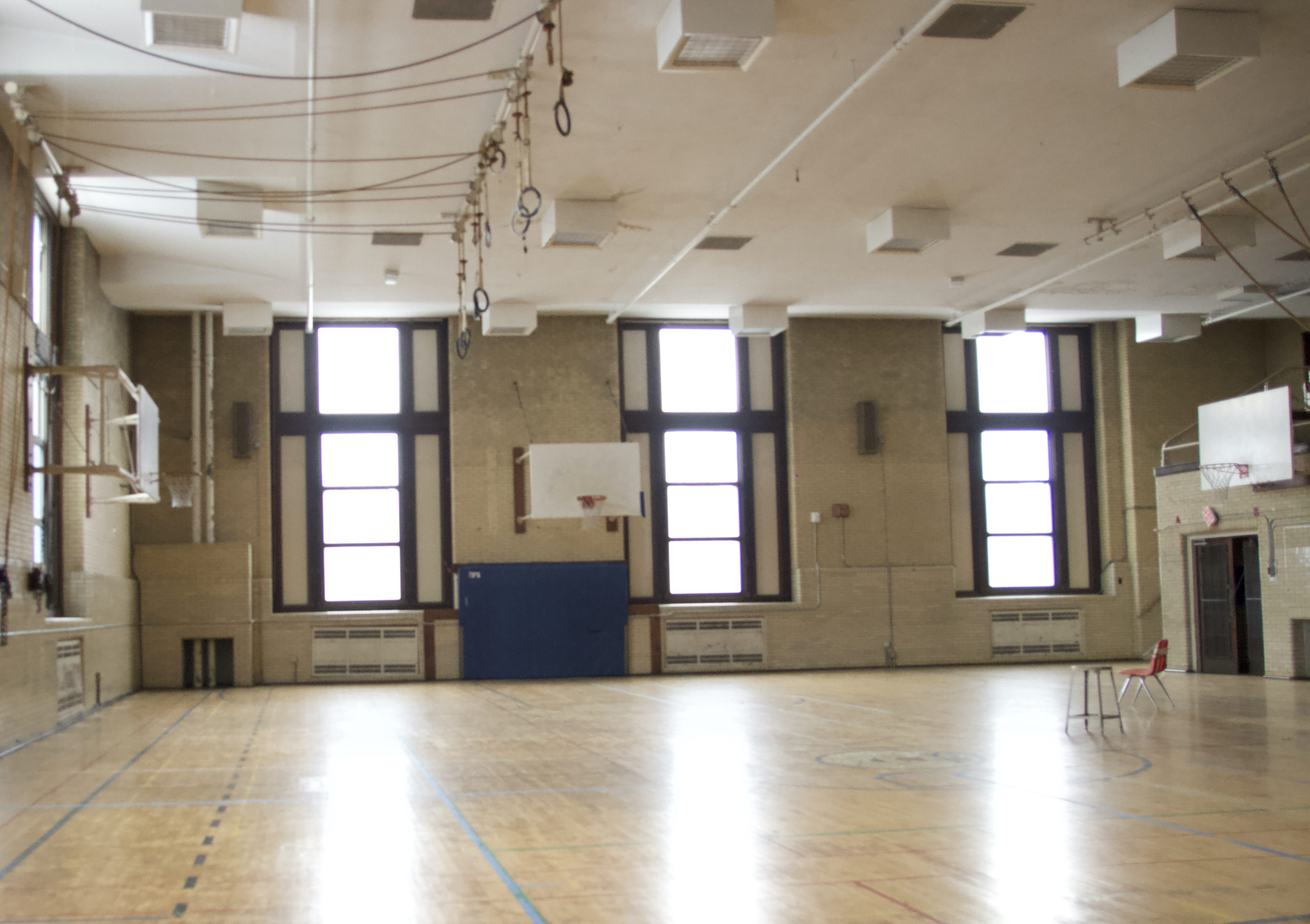 Bare image of the gymnasium in the Bok Building.